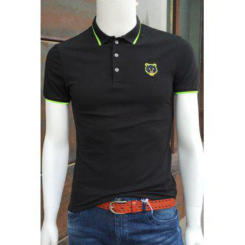Fluorescence Color Embroidery Turn-Down Collar Short Sleeve Men's Polo T-Shirt