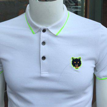 Fluorescence Color Embroidery Turn-Down Collar Short Sleeve Men's Polo T-Shirt - BLACK XL