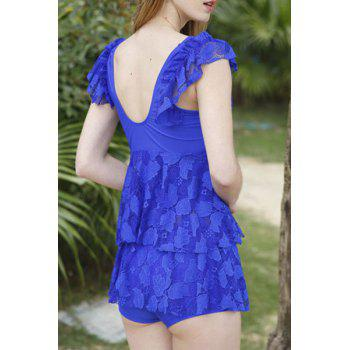 Trendy Hollow Out Solid Color Lace Spliced Two-Piece Women's Swimsuit - SAPPHIRE BLUE L