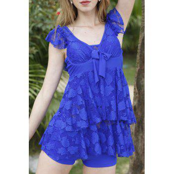 Trendy Hollow Out Solid Color Lace Spliced Two-Piece Women's Swimsuit