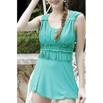 Stylish Fringed Cut Out Pure Color Two-Piece Women's Swimsuit
