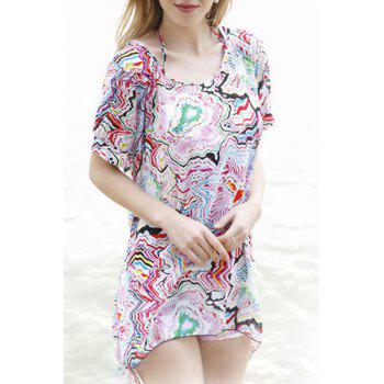 Trendy Halter Lace-Up Printed Three-Piece Women's Swimsuit