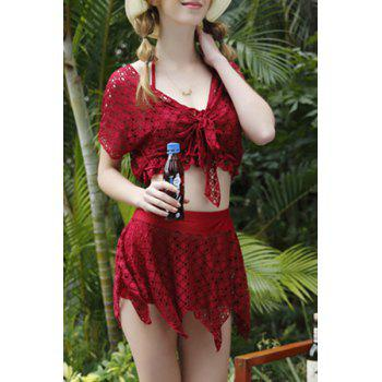 Sexy Halter Solid Color Lace Spliced Four-Piece Women's Swimsuit