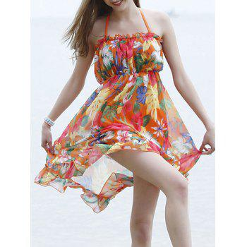 Sexy Halter Backless Floral Print Three-Piece Women's Swimsuit