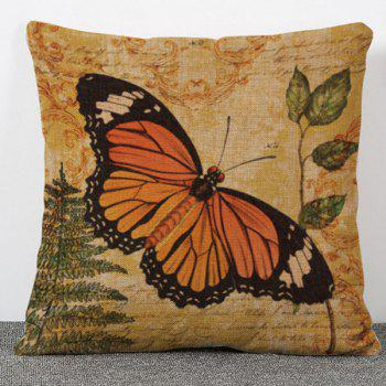 High Quality Tree and Butterfly Pattern Flax Pillow Case(Without Pillow Inner)