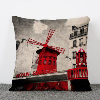 Hot Sale Nostalgia Style Windmill Pattern Flax Pillow Case(Without Pillow Inner)