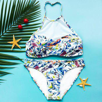 Attractive Gauze Spliced Leaf Print High Neck Bikini For Women - COLORMIX S