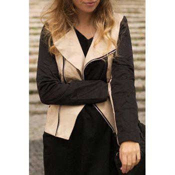 Stylish Long Sleeve Turn-Down Collar Color Block Women's Slimming Jacket