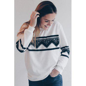 Stylish Women's Round Neck Long Sleeve Ethnic Print Sweatshirt - S S