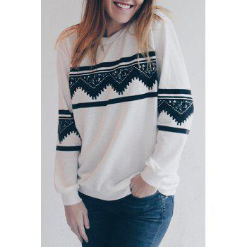 Stylish Women's Round Neck Long Sleeve Ethnic Print Sweatshirt - WHITE S