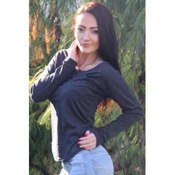 Stylish Plunging Neck Solid Color Long Sleeve Women's T-Shirt - DARK GREY M