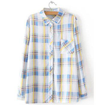 Stylish Women's Polo Collar Checked Long Sleeve Blouse