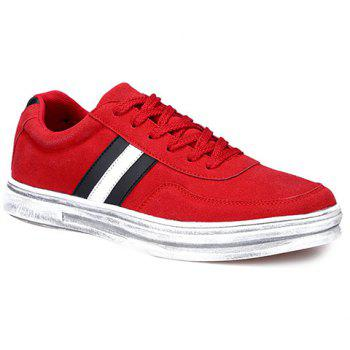 Fashionable Suede and Striped Design Men's Casual Shoes - RED 43
