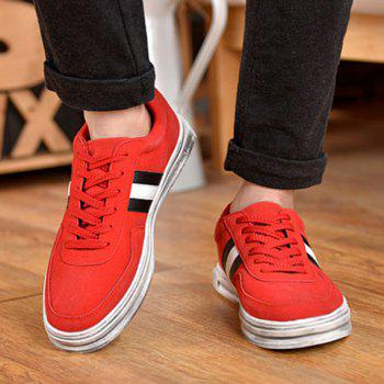 Fashionable Suede and Striped Design Men's Casual Shoes - RED RED