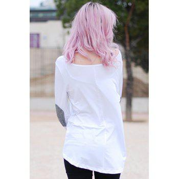 Graceful Jewel Neck Sequin Splicing Long Sleeve Blouse For Women - WHITE M