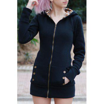 Attractive Hooded Inside Leopard Printed Thick Hoodie For Women - BLACK M