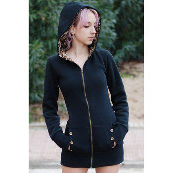Attractive Hooded Inside Leopard Printed Thick Hoodie For Women - M M
