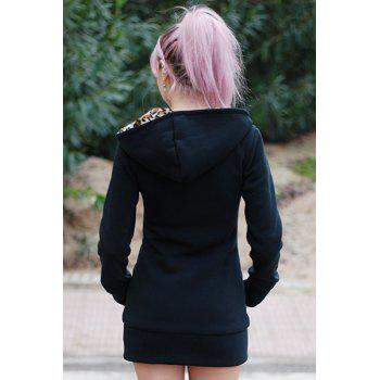Attractive Hooded Inside Leopard Printed Thick Hoodie For Women - BLACK BLACK