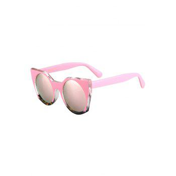 Fashion Round Lenses Color Block Cat Eye Sunglasses Women - PINK
