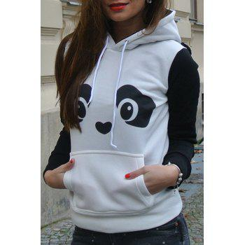 Endearing Panda Print Ear Shape Hooded Fleece Pullover Hoodie For Women