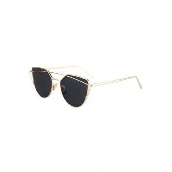 Fashion Metal Bar Golden Frame Pilot Sunglasses For Women - BLACK BLACK