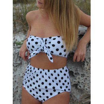 Trendy Style Strapless Polka Dot Print High-Waisted Bikini Set For Women