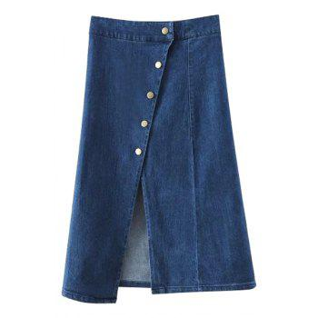 Stylish High Waist Solid Color Single-Breasted Denim Women's Skirt