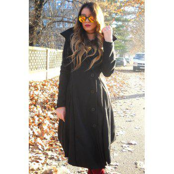 Buttoned Maxi Asymmetric Flare Coat - BLACK M