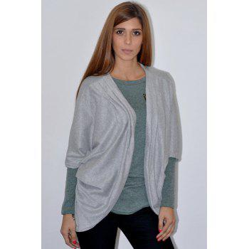 Trendy 3/4 Sleeve Loose Collarless Solid Color Cardigan For Women - GRAY M