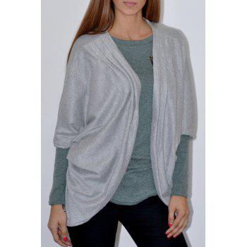 Trendy 3/4 Sleeve Loose Collarless Solid Color Cardigan For Women - GRAY GRAY