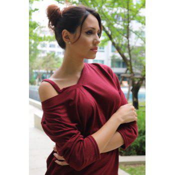 Casual Long Sleeve V-Neck T-Shirt For Women - WINE RED ONE SIZE(FIT SIZE XS TO M)