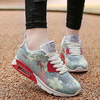 Trendy Colour Matching and Lace-Up Design Women's Athletic Shoes - WHITE 36