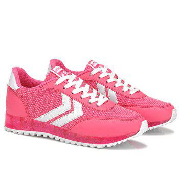 Trendy Splicing and Lace-Up Design Women's Athletic Shoes - ROSE 36