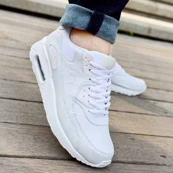 Simple PU Leather and Lace-Up Design Sneakers For Women - WHITE 37
