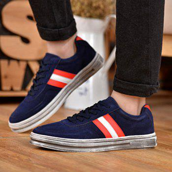 Fashionable Suede and Striped Design Men's Casual Shoes - BLUE 43
