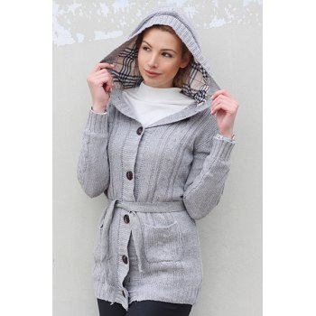 Women's Long Sleeve Hoodie Coat Cardigans trench Sweater - GRAY ONE SIZE