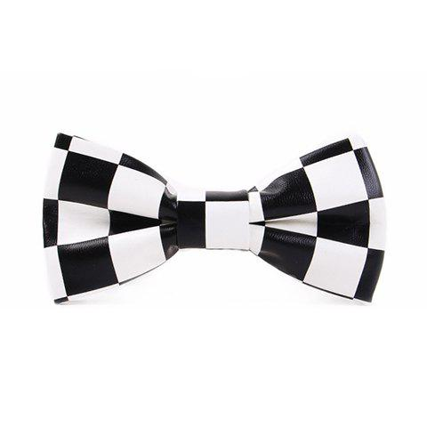 Stylish Checked Pattern Men's Black and White PU Bow Tie - WHITE/BLACK