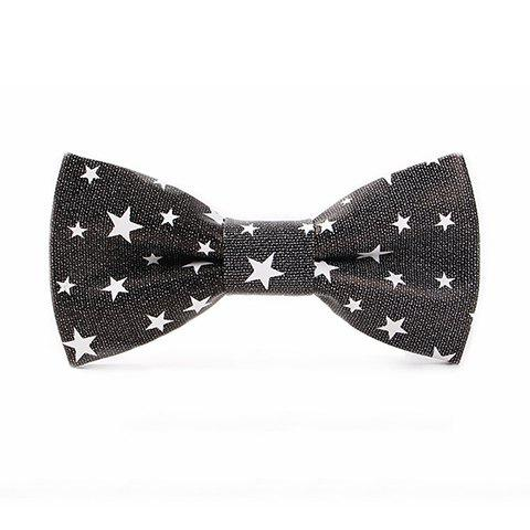 Stylish White Five-Pointed Stars Pattern Men's PU Bow Tie - BLACK