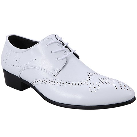 Trendy Wingtip and Lace Up Design Formal Shoes For Men - WHITE 43