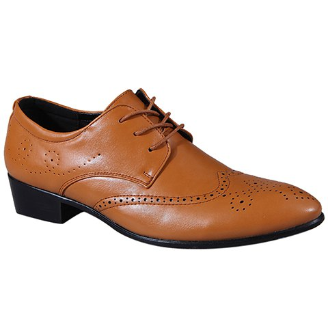 Trendy Wingtip and Lace Up Design Formal Shoes For Men - BROWN 38