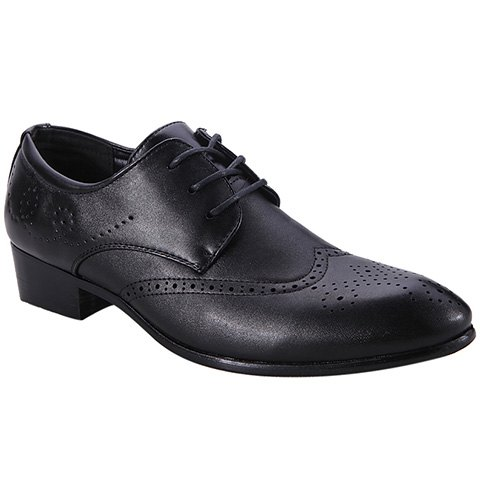 Trendy Engraving and Lace-Up Design Formal Shoes For Men