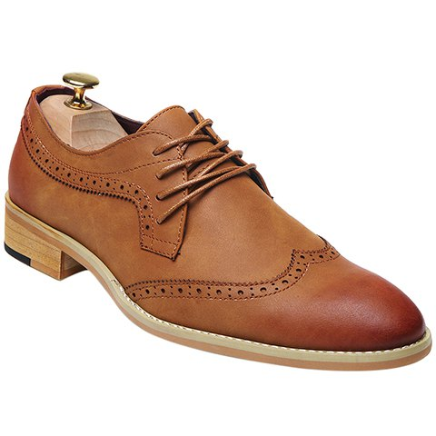 Fashion Lace-Up and Engraving Design Formal Shoes For Men - BROWN 40