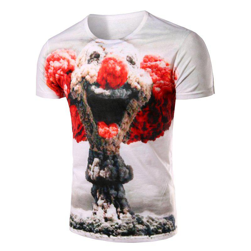 Slimming Clown Printing Pullover T-Shirt For Men - WHITE M