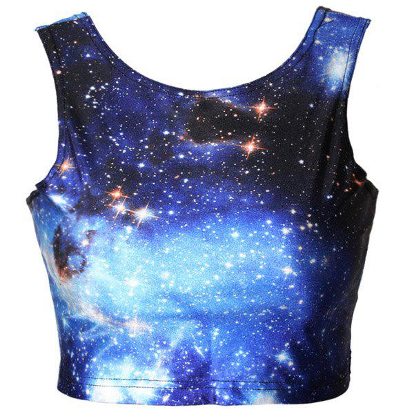 Active Starry Sky Print Bodycon Cropped Trippy Tank Top For Women - BLUE ONE SIZE(FIT SIZE XS TO M)