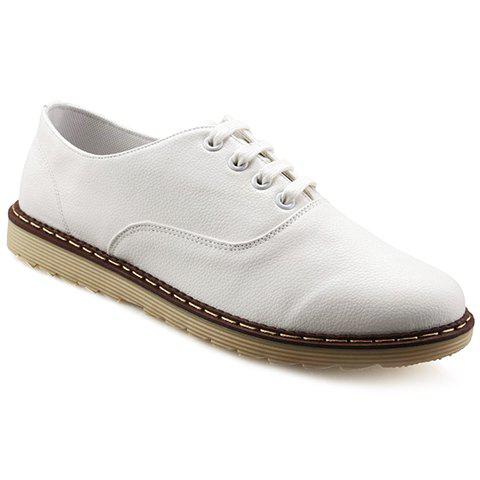 Casual PU Leather and Lace-Up Design Dress Shoes For Men - WHITE 42