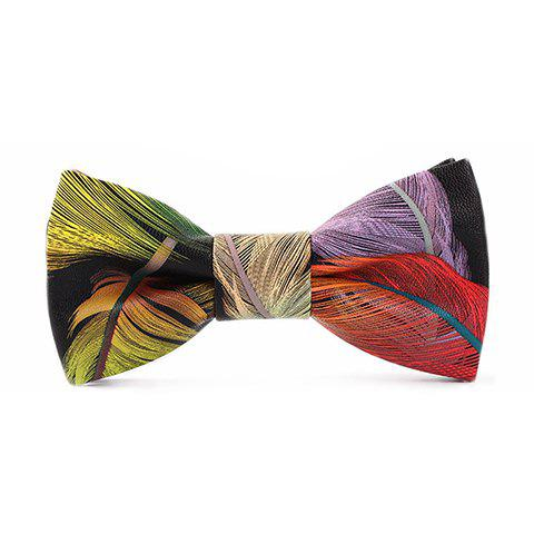 Stylish Multicolor Feathers Pattern Men's PU Bow Tie - RED