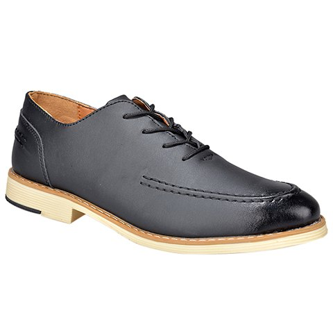 Vintage Lace-Up and PU Leather Design Formal Shoes For Men - BLACK 43