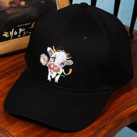 Chic Cartoon Calf and Sunflower Embroidery Women's Baseball Cap - BLACK