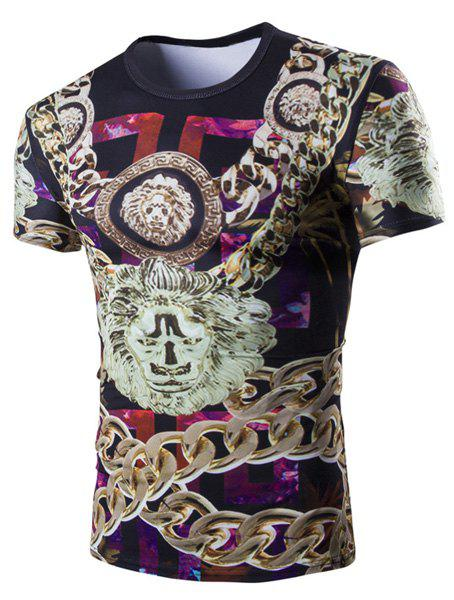Casual 3D Chain Printed Short Sleeves Round Neck Men's T-Shirt - COLORMIX M