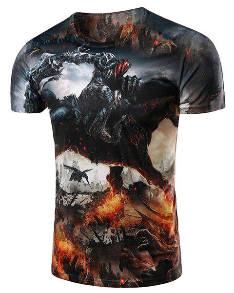 Slimming Warrior Printing Pullover T-Shirt For Men - COLORMIX M